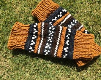 Striped Legwarmers / Adult Leg Warmers - Neutral - Lebowski Colors