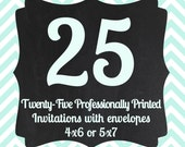 25 Professionally Printed Invitations with Envelopes