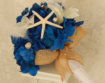 Starfish Wedding Bouquet, Seashell Bridal Bouquet, Blue and White Wedding Bouquet- Made To Order- SOLD