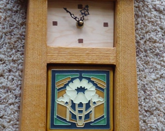 Mission clock with Motawi tile