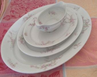 Haviland Platters and Gravy Bowl pink floral vintage George Haviland Theo Serving Platters Floral Porcelain China Easter Set