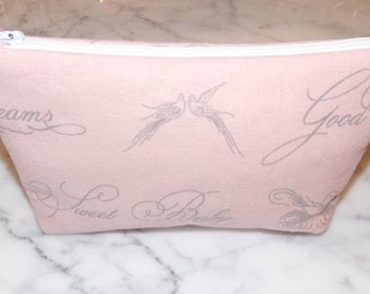 Pink  Gray Zipper Pouch, Purse, Shabby Chic, Dusty Pink, Cosmetic Bag, Birds