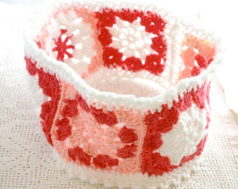 Pink Headband- Granny Squares- Crocheted- Womans Ear Warmer- Pink and White