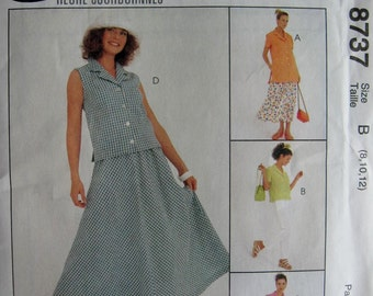 McCalls Misses Womens Top and Pull On Pants Skirt Pattern 8737 UC Uncut FF Size 8 10 12