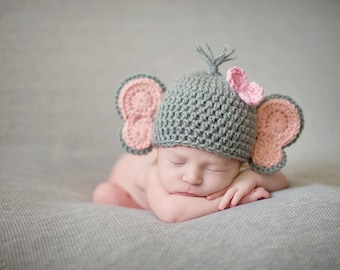 Newborn Baby Elephant Hat - Photo Props, Photography Props, Boys, Girls, Animal hat, Halloween Costume, Outfit