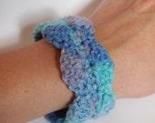 Crochet Cuff Bracelet - Seafoam Blue to Green - Variegated