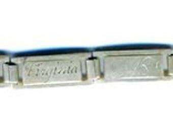 BRACELET  Vintage Sterling Link Friendship or Forget Me Not Bracelet   9 Links    Item No: 14957