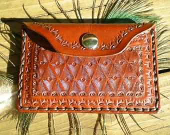 Handmade tooled leather wallet / slim wallet / coin purse / Women's wallet / Men's wallet / card wallet
