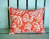 "12"" X 16""  lumbar orange, white coral reef print designer outdoor indoor fabric- decorative pillow cover-throw pillow-accent pillow"