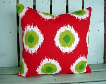 """Sale 18"""" X 18"""" red,white,chartreuse,green Ikat Domino print- Christmas pillow-  decorative pillow cover-gifts under 40-throw pillow"""