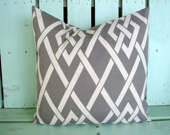new 18x18 grey pewter secret gate outdoor/indoor fabric kaufmann print, decorative pillow cover-gifts under 40-throw pillow