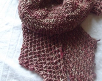 Hand Spun Hand Dyed Hand Knit Merino Scarf