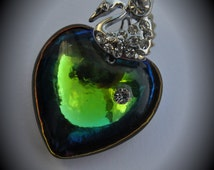 Genuine Silver Plated Swarovski Crystal Secial Green Shinx  With 28mm 6221 Puffed Heart Pendant