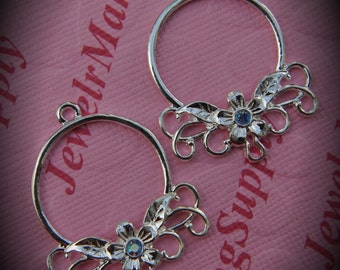 Genuine Silver Plated Swarovski Crystal Round Chandelier Earrings In Light Sapphire AB