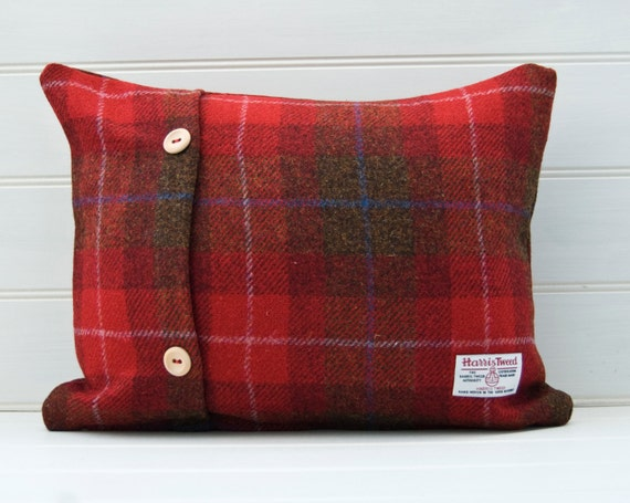 Red Plaid Throw Pillow Cover : Harris Tweed Red Plaid Tartan Throw Pillow Lumbar by GreenCallow