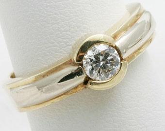 Handmade Diamond Engagement Ring 1/2 carat Round Cut 14k gold bezel set solitaire NEW!
