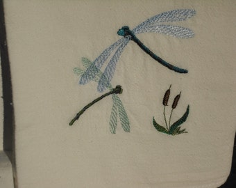 Dragonfly flour sack towel. Machine embroidered.