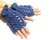 ON SALE // Fingerless Gloves, Purple, Blue, Crochet fingerless gloves, Tie Gloves, Perforated, Crochet tie, Boho glove mitten, Spring gloves