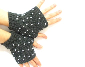 Beaded gloves, Fingerless gloves, Hand knit, Grey, Boho knit glove mittens, Knit gloves mittens, Black and white,  Mothers day gifts