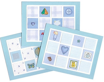 Baby Boy Thank-You Card Grab Bag - Adorable Blue Quilt Cards - 20 Blank CardsThank-You Notes Baby Shower
