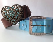 Pleather and Plastic 90s Belts - Flower and Heart