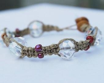 Crystal and orange beaded hemp bracelet