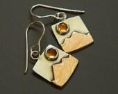 Mixed metal jewelry mokume mountain earrings, silver and citrine sun