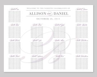 Pretty Script Printable Wedding Seating Chart Poster - DIY, Classic, Elegant, Purple, Gray, Silver