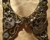 Time flies by steampunk collar.