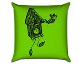 "Cuckoo Clock - Original Illustration Sofa Throw Pillow Envelope Cover for 18"" inserts"