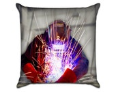 """Welding - Original Photo Sofa Throw Pillow Envelope Cover for 18"""" inserts"""