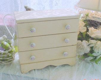 SALE Vintage Jewelry Box Ceramic Floral Knobs