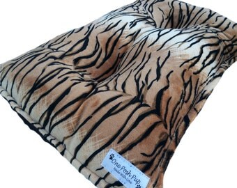 Dog Crate Mat Tiger Brown and Black Minky Pet Bed X-Small