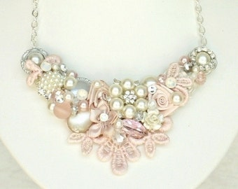 Soft Pink Bridal Necklace- Blush Bridal Bib- Pearl and Rhinestone Necklace-Romantic bridal Bib- Champagne Pink Necklace- Statement Necklace