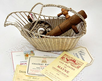 Vintage French wine tasting cup, wine bottle basket, wine barrel tap, wine labels, French tastevin, wine lovers collection, barware gift set