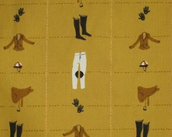 Mustard Equestrian Heather Ross Half Yard Cotton Fabric Horse Saddle Boots Free Spirit
