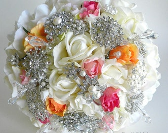 The Katisha-  Elegant Real Touch Rose and Brooch Bouquet in Pinks and Orange