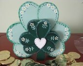 Shamrock, St. Pat's Day, shelf sitter, green, handpainted