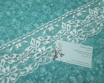 1 yard of 3 3/4 inch White Chantilly lace trim for bridal, baby, wedding supplies, lingerie by MarlenesAttic - Item LL7