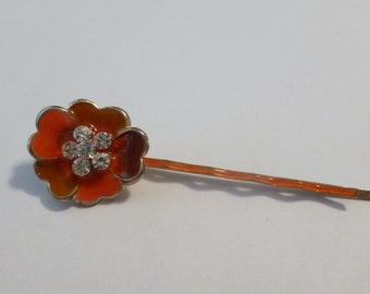 Vintage orange Poppy flower Rhinestones Barrette