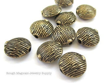 Antique Brass Beads 10mm Puffed Coin Beads, Rustic Texture Brass Beads, Oxidized Brass Metal Beads, Tree Bark Jungle Grass Beads - 10 Pieces