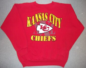 Vintage 90s 1990s Kansas City Chiefs NFL Football Sweatshirt Red Long Sleeve Faded Hipster Made In USA XL X Extra Large