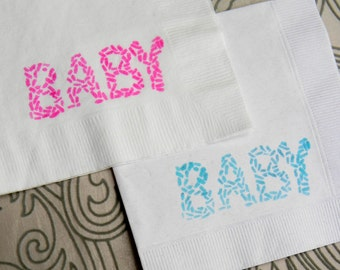 Baby Sprinkle White Baby Shower Cocktail Napkins with Hot Pink and Aqua ink - Set of 50