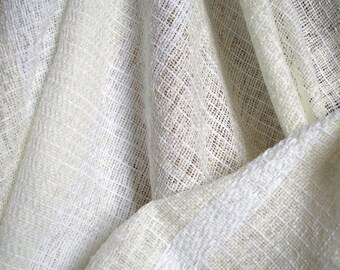 30%DISCOUNT/Handwoven Elegant White Shawl Linen, Cotton, Soft,Summer,Ivory-Cream Color, With Decorative Mother of Pearl Bead, Twisted Fringe