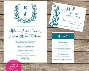 Rebecca Collection Wedding Invitation and RSVP design - DIY Printable - Lovely Little Party - You Choose Color