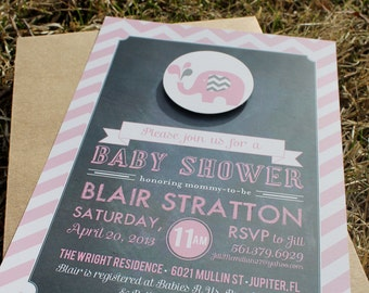 Printable 3 Piece Elephant Themed  Baby Shower Invitation & thank you card - Lovely Little Party