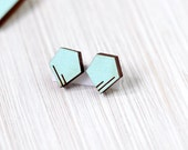 earrings »two lines in a pentagon« bright blue geo wood