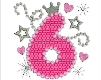 Happy Bithday Number 6 Pink Glamour for Girl Applique Embroidery Design HB009