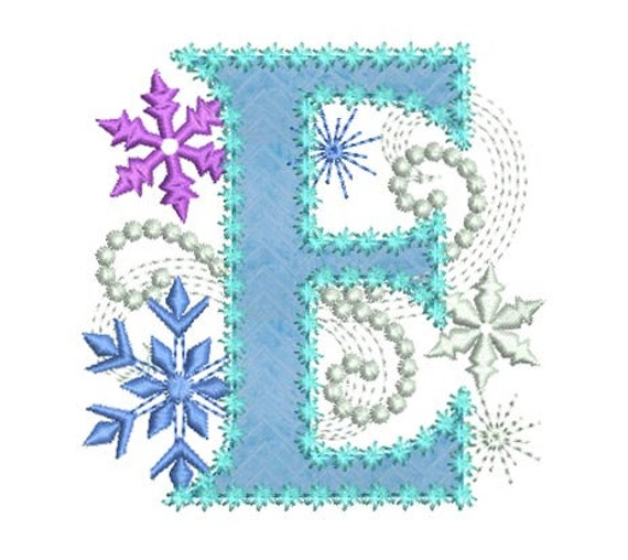 Ice Princess Applique Letter E Frozen Cloth Decor Applique