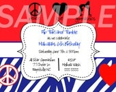 Red White and Blue Gymnastics Birthday Invitation